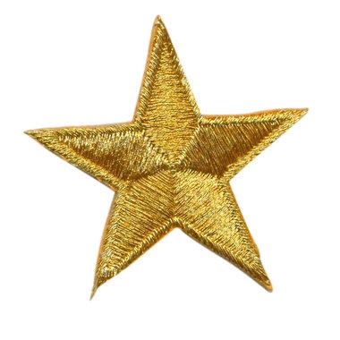 Opstrijkbare applicatie ster goud (5 stuks)