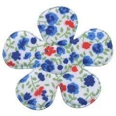 Applicatie bloem met bloemenprintje blauw groot 45 mm (ca. 25 stuks)