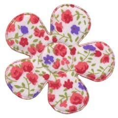 Applicatie bloem met bloemenprintje rood groot 45 mm (ca. 25 stuks)