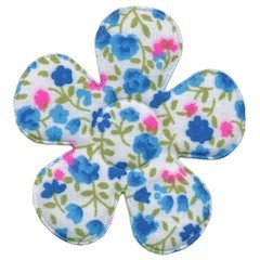 Applicatie bloem met bloemenprintje aqua groot 45 mm (ca. 25 stuks)