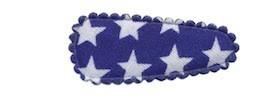 Haarkniphoesje kobalt blauw met witte sterren 3 cm (ca. 100 stuks)