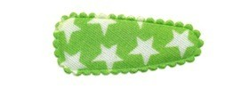 Haarkniphoesje groen met witte sterren 3 cm (ca. 100 stuks)