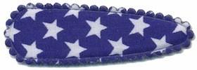 Haarkniphoesje kobalt blauw met witte sterren 5 cm (ca. 20 stuks)