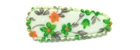 Haarkniphoesje met bloemenprintje groen 3 cm (ca. 100 stuks)