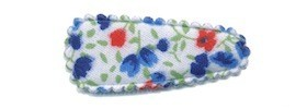 Haarkniphoesje met bloemenprintje blauw 3 cm (ca. 100 stuks)