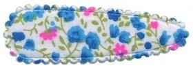 Haarkniphoesje met bloemenprintje aqua 5 cm (ca. 100 stuks)