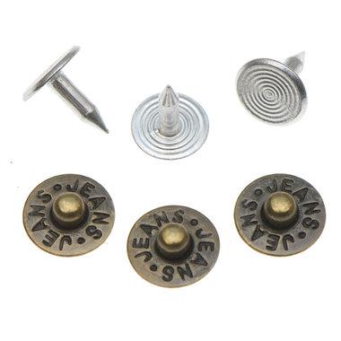 Jeans spijker bronskleurig staal 10 mm #802 (ca. 500 sets)