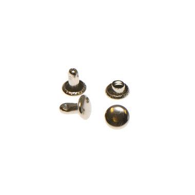 Holniet nikkelkleurig staal 6 mm met dubbele kop (ca. 1000 sets)