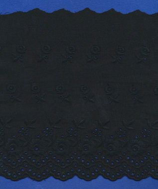 Broderie zwart KATOEN 175 mm #62883 (ca. 13,5 m)