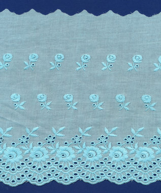 Broderie baby blauw KATOEN 175 mm #62883 (ca. 13,5 m)