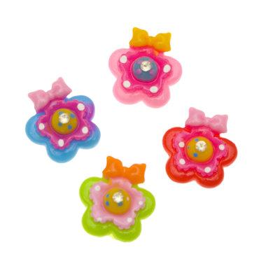 Flatback bloem met strikje en strass MIX kleuren 20 mm (100 stuks)