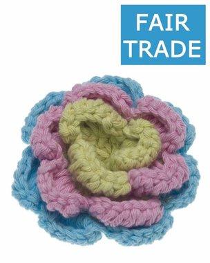 Gehaakte katoenen bloem pastel blauw, roze en groen ca. 60 mm (5 stuks)