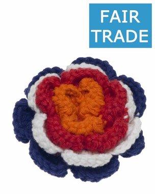 Gehaakte katoenen bloem 'HOLLAND' rood, wit, blauw en oranje ca. 65 mm (5 stuks)