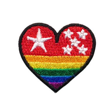 Opstrijkbare applicatie hart met regenboog en sterretjes (5 stuks)
