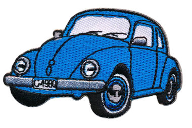 Opstrijkbare applicatie auto 'VW Kever' jeansblauw klein (5 stuks)