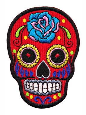 Opstrijkbare applicatie sugar skull rood groot (5 stuks)