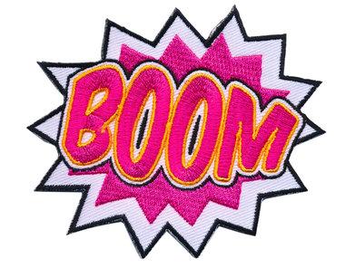 Opstrijkbare applicatie 'BOOM' (5 stuks)