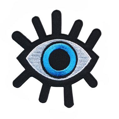 Opstrijkbare applicatie oog zwart-wit-blauw (5 stuks)