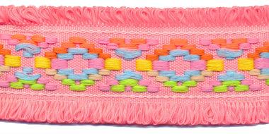 Peach/roze franjeband Ibiza stijl met franjes aan beide zijden 45 mm (ca. 5 m)