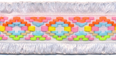 Wit franjeband Ibiza stijl met franjes aan beide zijden 45 mm (ca. 5 m)