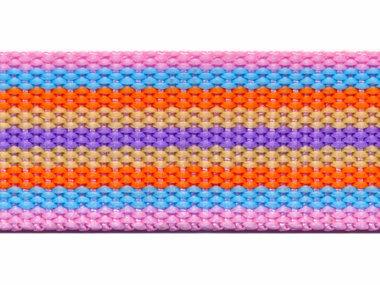 Tassenband 30 mm streep roze/blauw/oranje/zand/lila (ca. 5 m)