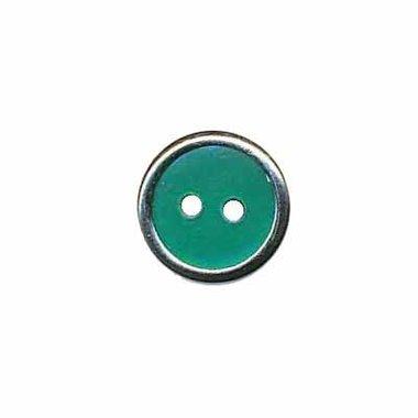 Knoop met metalen rand donker groen 13 mm (ca. 100 stuks)