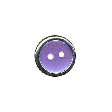 Knoop met metalen rand lila/paars 13 mm (ca. 100 stuks)