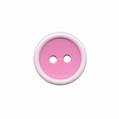 Knoop met opstaande rand roze-wit 15 mm (ca. 50 stuks)