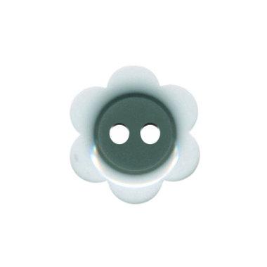 Bloemknoop wit met grijs hart 18 mm (ca. 50 stuks)