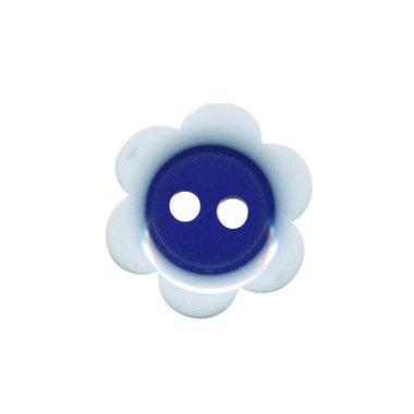 Bloemknoop wit met kobalt blauw hart 18 mm (ca. 50 stuks)