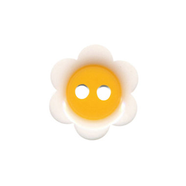 Bloemknoop wit met warm geel hart 18 mm (ca. 50 stuks)