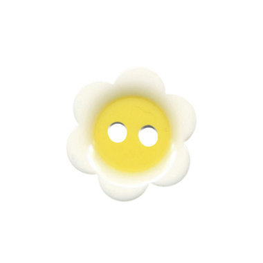Bloemknoop wit met citroen geel hart 18 mm (ca. 50 stuks)