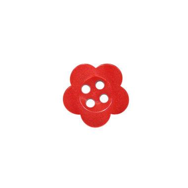 Bloemknoop rood met 4 gaten 12 mm (ca. 100 stuks)