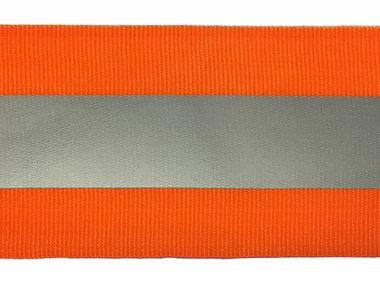 Fluoriserend oranje grosgrainband met reflectiestreep 50 mm (ca. 10 meter)