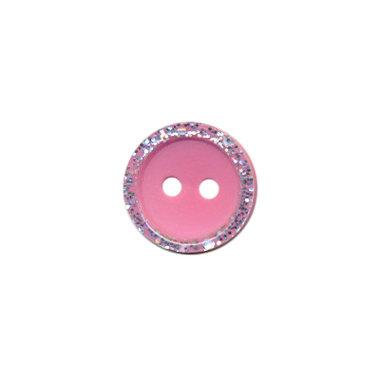 Knoop met glitter rand roze 11 mm (ca. 100 stuks)