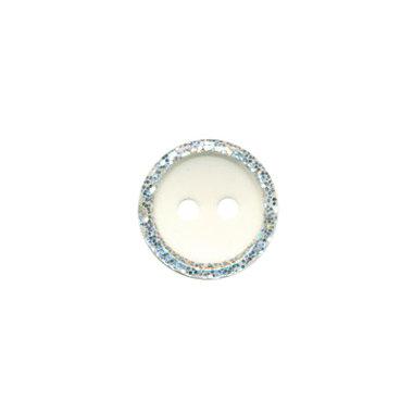 Knoop met glitter rand creme 11 mm (ca. 100 stuks)