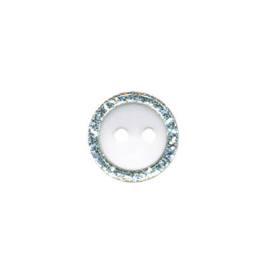 Knoop met glitter rand wit 11 mm (ca. 100 stuks)