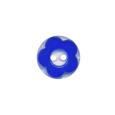 Bloemknoop kobalt blauw met doorzichtige ondergrond 13 mm (ca. 100 stuks)