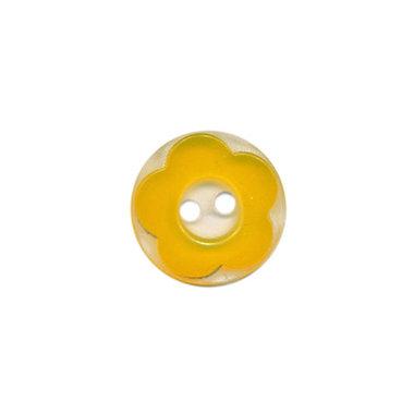 Bloemknoop geel met doorzichtige ondergrond 13 mm (ca. 100 stuks)