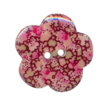 Bloemknoop met bloemenprint roze/aubergine 25 mm (ca. 25 stuks)