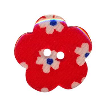 Bloemknoop rood met bloemenprint 25 mm (ca. 25 stuks)