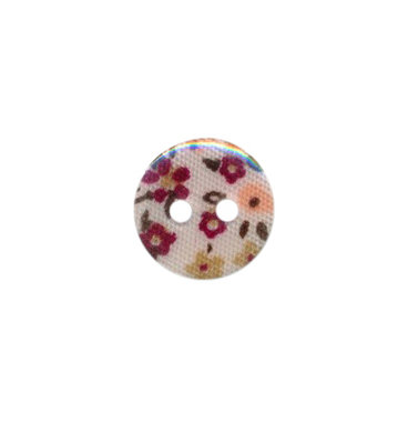 Knoop met bloemenprint bordeaux/zand/fuchsia 12 mm (ca. 100 stuks)