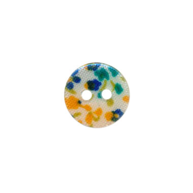 Knoop met bloemenprint oker/petrol/donker blauw 12 mm (ca. 100 stuks)