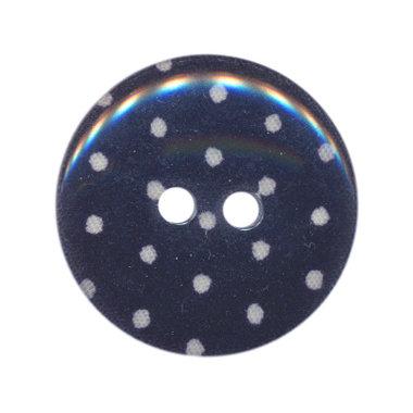Knoop donker blauw met witte stippen 25 mm (ca. 25 stuks)