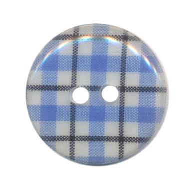 Knoop geruit blauw/wit/zwart 25 mm (ca. 25 stuks)