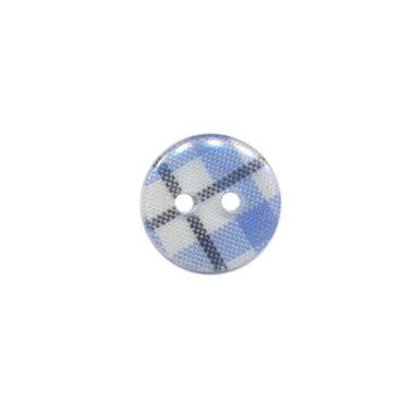 Knoop geruit blauw/wit/zwart 12 mm (ca. 100 stuks)