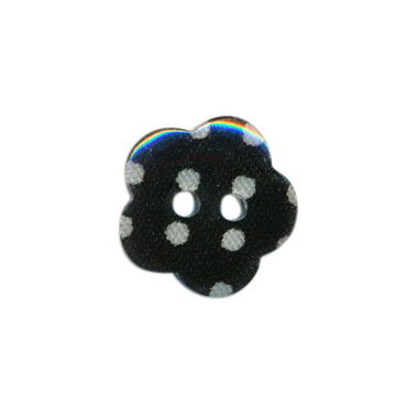 Bloemknoop zwart met witte stip 15 mm (ca. 50 stuks)