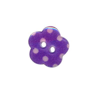 Bloemknoop lila met roze stip 15 mm (ca. 50 stuks)
