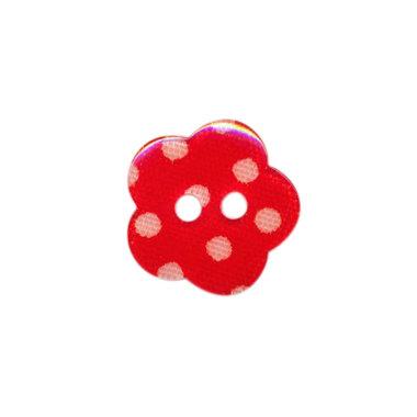 Bloemknoop rood met witte stip 15 mm (ca. 50 stuks)