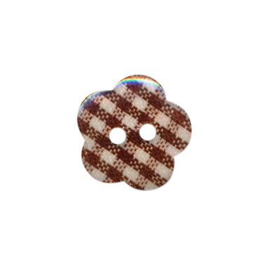 Bloemknoop geruit bruin/wit 15 mm (ca. 50 stuks)